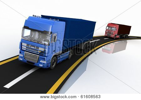Trucks on freeway. 3d render illustration. Concept of logistics, delivery and transporting by freight motor transport.