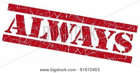 Always Red Square Grunge Textured Stamp Isolated On White