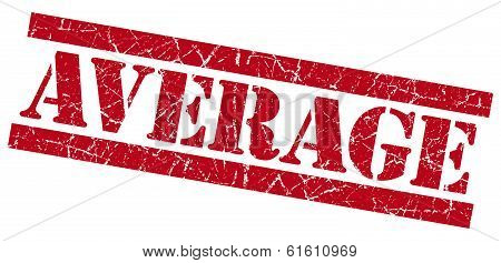 Average Red Square Grunge Textured Stamp Isolated On White
