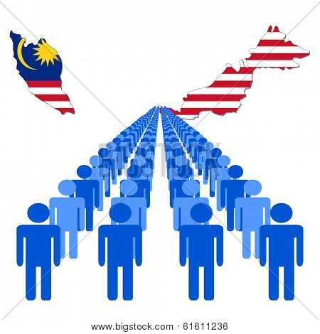 Lines of people with Malaysia map flag vector illustration