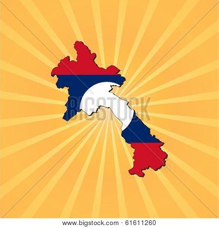 Laos map flag on sunburst illustration