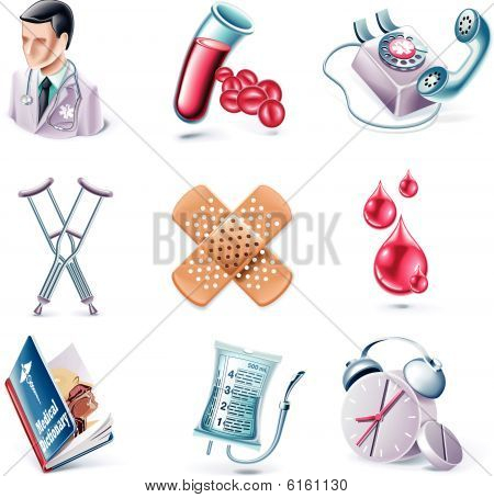Vector cartoon style icon set. Part 27. Medicine