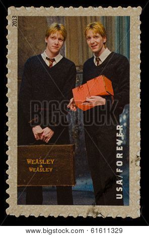 UNITED STATES - CIRCA 2013: postage stamp printed in USA showing an image of Fred and George Weasley two Harry Potter main characters, circa 2013.