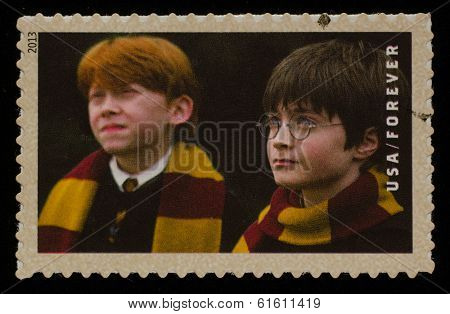 UNITED STATES - CIRCA 2013: postage stamp printed in USA showing an image of Harry Potter and Ron Weasley two Harry Potter main characters, circa 2013.