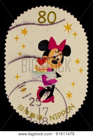 JAPAN - CIRCA 2012: A stamp printed in Japan shows Minnie Mouse, circa 2012