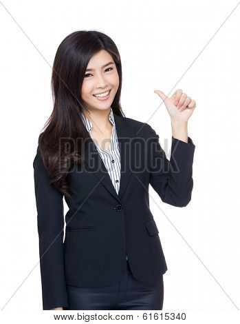 Asia businesswoman thumb up gesture