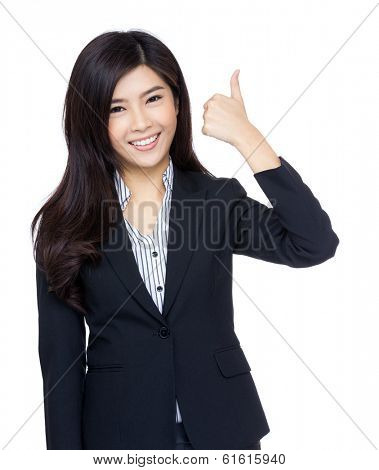 Asian businesswoman thumb up gesture