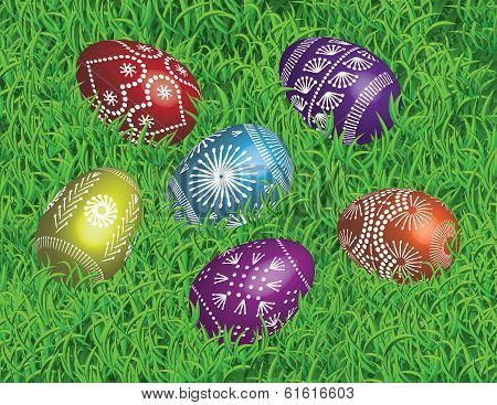 10.	Decorated Easter Eggs on the Bed of Grass