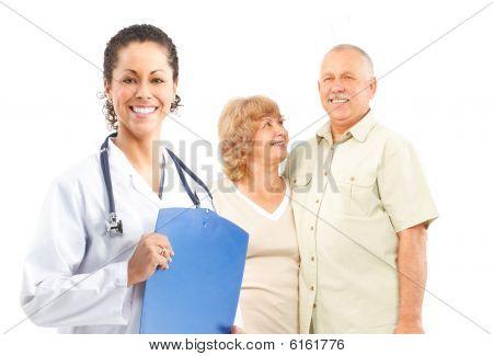 Sonriente médico