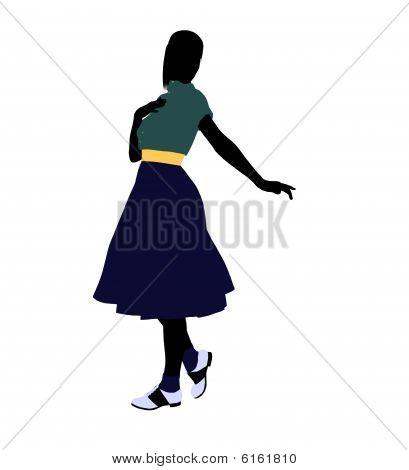 50's Female Dancer Illustration Silhouette
