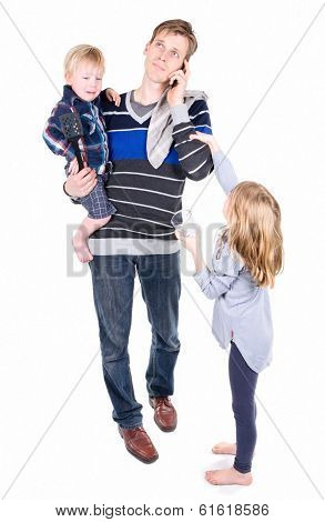 Working daddy with kids
