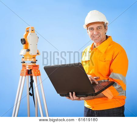 Senior Land Surveyor With Theodelite
