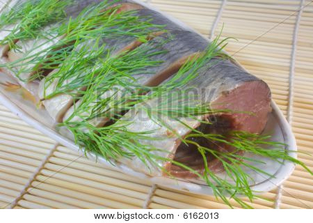 Segments Of Salty Herring With  Fennel.