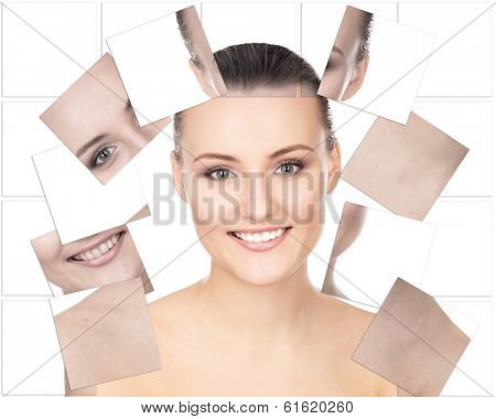 Portrait of young, healthy and beautiful woman (plastic surgery, medicine, spa, cosmetics and visage concept)