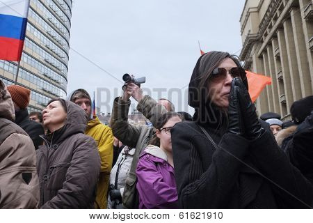 MOSCOW - MARCH 15: Protest manifestation of muscovites against war in Ukraine and Russia's support of separatism in the Crimea, Circular Boulevards in Moscow, Russia on March, 15, 2014.