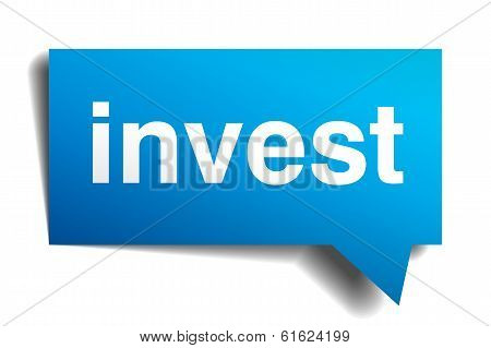 Invest Blue 3D Realistic Paper Speech Bubble Isolated On White