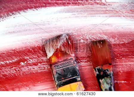 Art Palette With Paintbrushes And Strokes