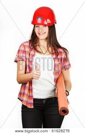 a girl in a helmet