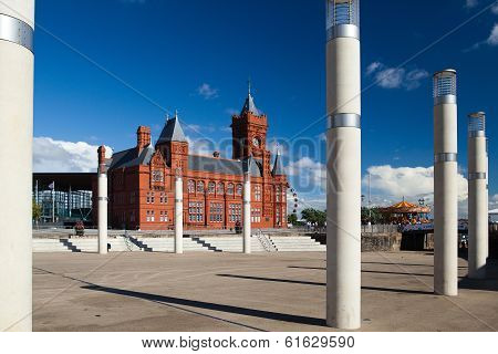 Cardiff Bay Development And Pier Head Building And Traditional Fairground Vinta