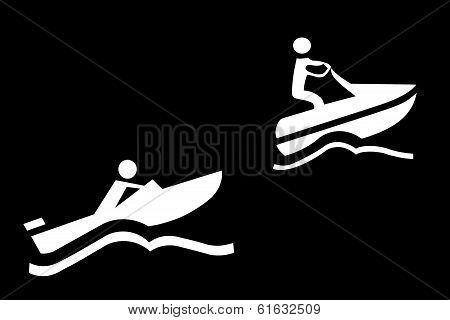 Boat And Jetski Whit Wave