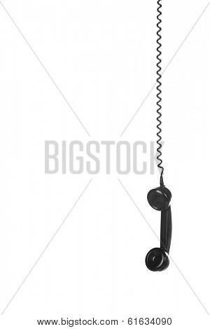 Old Vintage Black Telephone isolated on white background