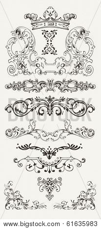 Set Of Vintage Design Elements And Borders