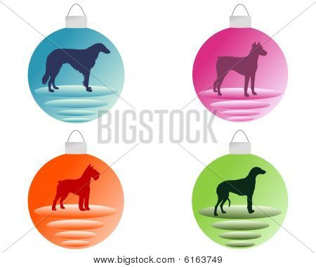 Christmas Tree Bauble With Different Dog Motifs