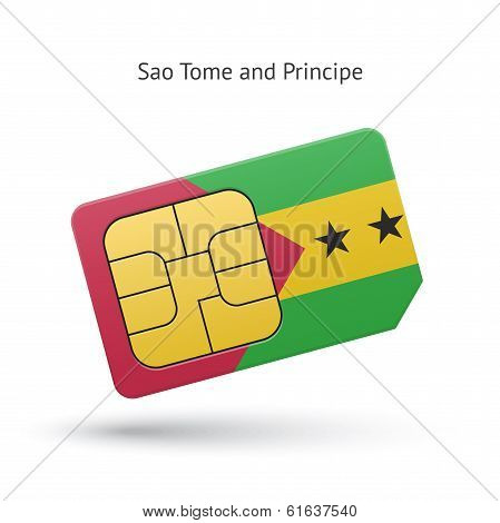 Sao Tome and Principe phone sim card with flag.