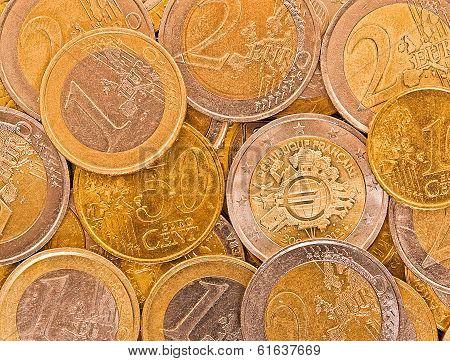 Metal coins of European Union.