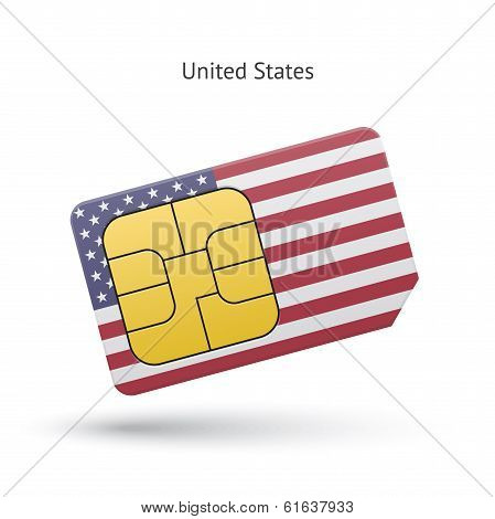 United States mobile phone sim card with flag.