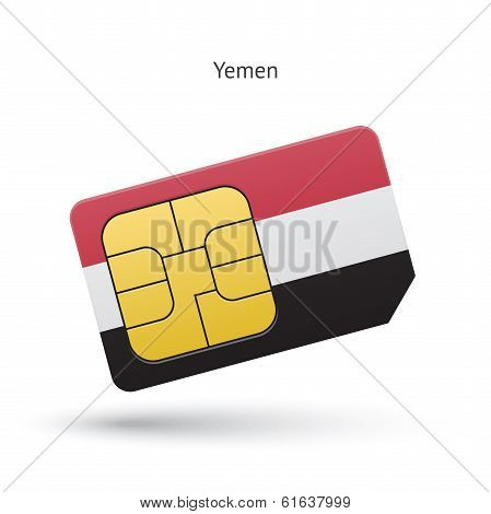 Yemen mobile phone sim card with flag.