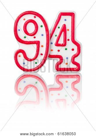 Red number 94 with reflection on a white background