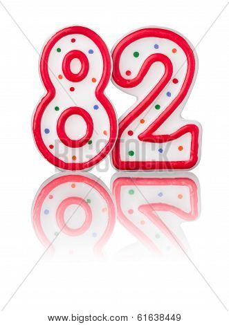 Red number 82 with reflection on a white background