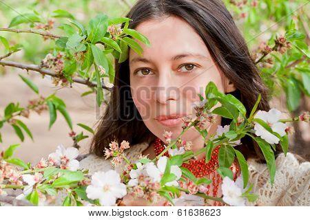 Closeup Portrait In Spring Blossom