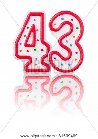 Red number 43 with reflection on a white background