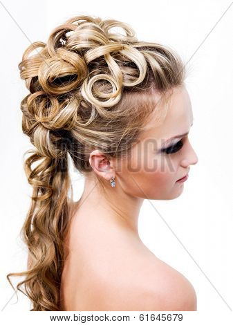beauty wedding ringlet hairstyle, profile - isolated on white