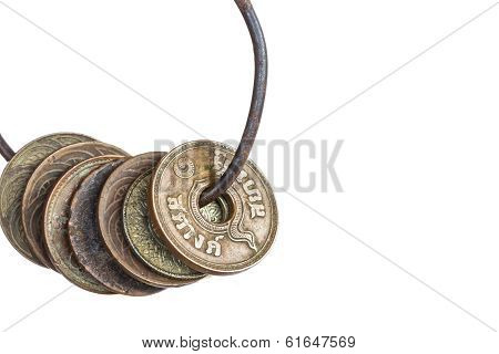 Old Coin Thailand, Which Is Obsolete Today On White Background