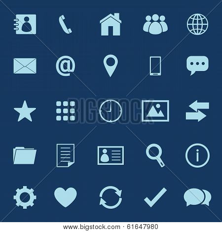 Contact Color Icons On Blue Background