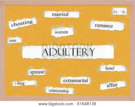 Adultery Corkboard Word Concept