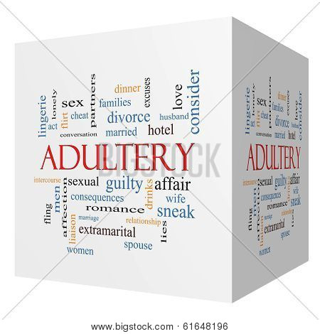 Adultery 3D Cube Word Cloud Concept
