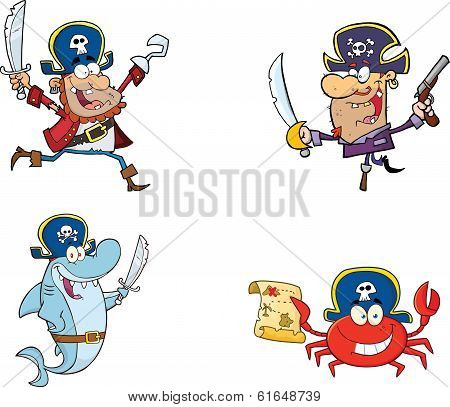 Pirates Cartoon Characters  Collection Set
