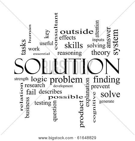 Solution Word Cloud Concept In Black And White