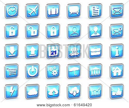 Set Of Different Blue Striped Web Icons On A White Background