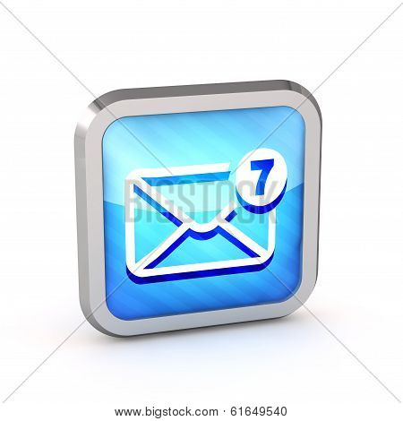 Blue Striped Mail Icon With Unread Messages On A White Background