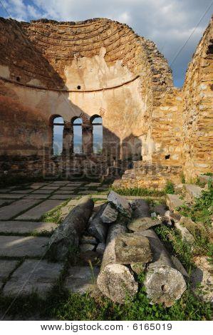 View of abandoned church at Prespa lake Greece