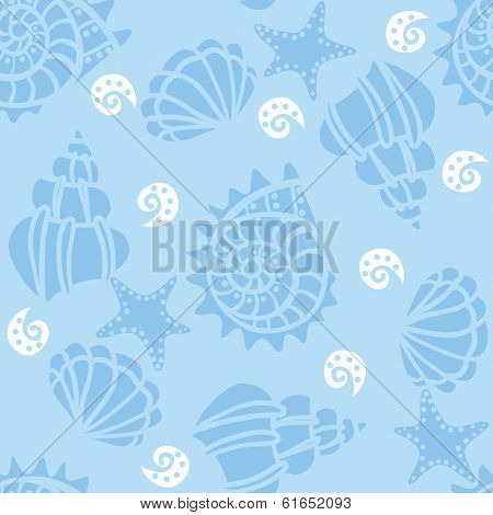 Seamless Pattern With Seashells On Blue Background.