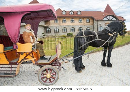 Elderly Woman Sit In Carriage