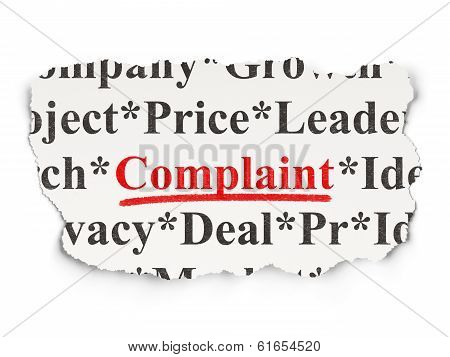 Law concept: Complaint on Paper background