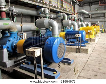 Several Water Pumps With Electric Motors