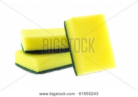 Three Sponge On White Background